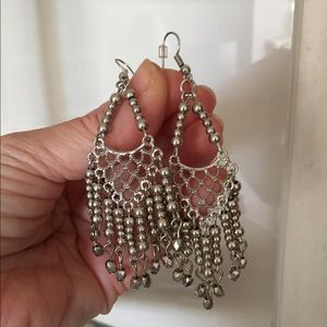 Boho chic silver colour earrings